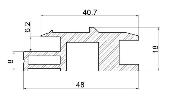 Terra Cotta Effect BIPV Roof Solar Panel Frame Bottom Rail Drawing