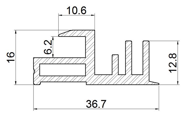Terra Cotta Effect BIPV Roof Solar Panel Frame Left Rail Drawing