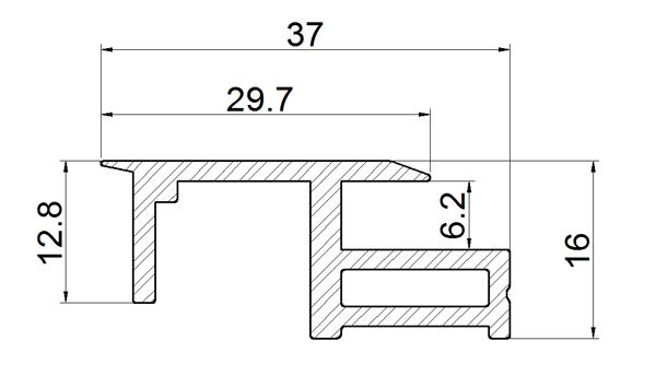 Terra Cotta Effect BIPV Roof Solar Panel Frame Right Rail Drawing
