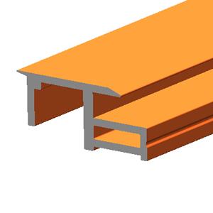 BIPV solar panel frame right rail terra cotta effect