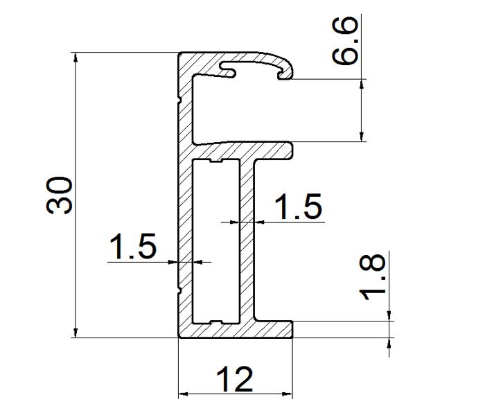 aluminium frame for double 2.5mm bifacial solar panels drawing