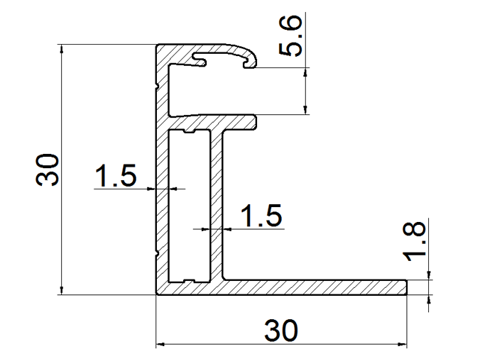 aluminum frame for bifacial solar panels 30mm thickness drawing