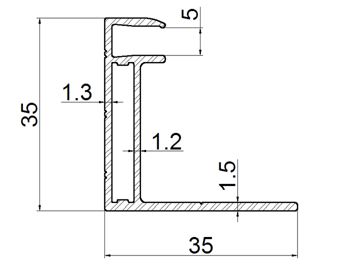 aluminum frame for solar panel 35mm thickness drawing