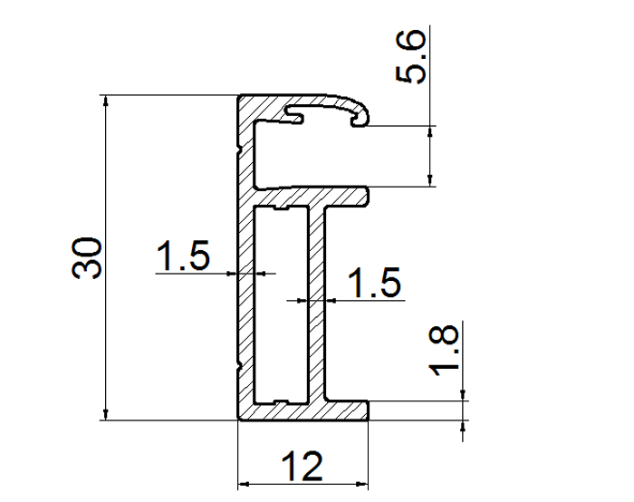 double glass solar panel frame 30mm thickness drawing