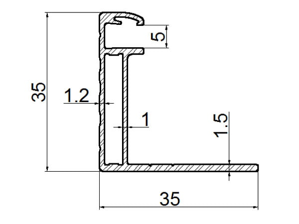 Cheap solar panel frame thickness 35mm drawing(Newdesign)