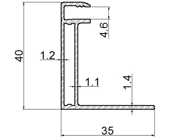 Cheap solar panel frame thickness 40mm drawing(New design)
